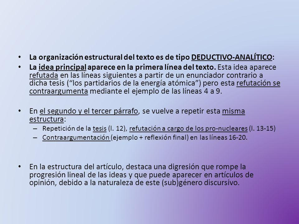 La organización estructural del texto es de tipo DEDUCTIVO-ANALÍTICO: