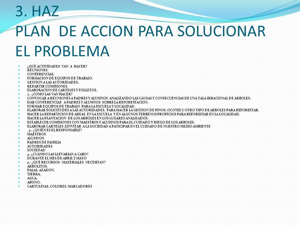 3. HAZ PLAN DE ACCION PARA SOLUCIONAR EL PROBLEMA
