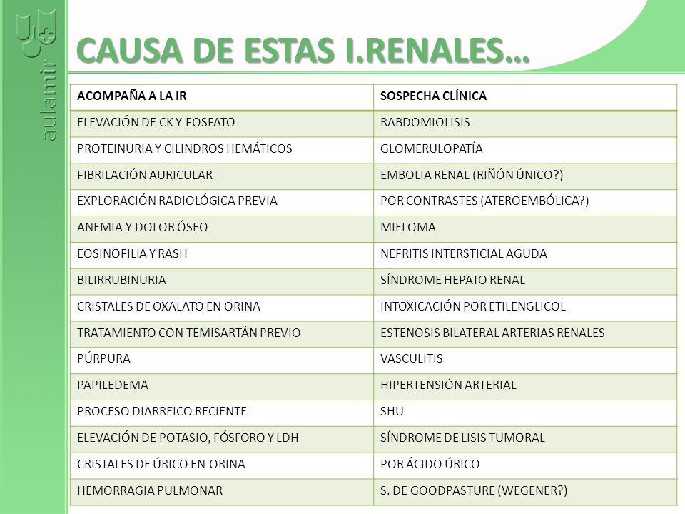 CAUSA DE ESTAS I.RENALES…