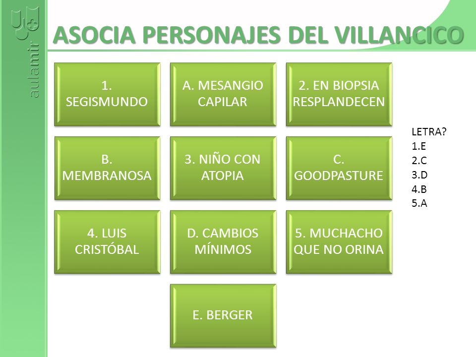 ASOCIA PERSONAJES DEL VILLANCICO