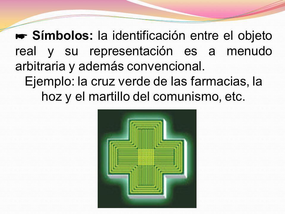 ☛ Símbolos: la identificación entre el objeto real y su representación es a menudo arbitraria y además convencional.
