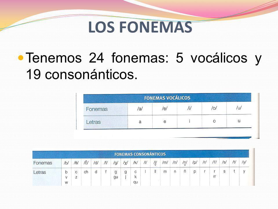 Los fonemas Tenemos 24 fonemas: 5 vocálicos y 19 consonánticos.