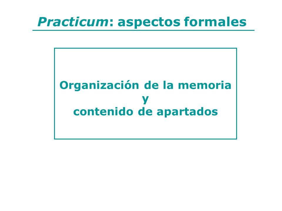 Organización de la memoria contenido de apartados