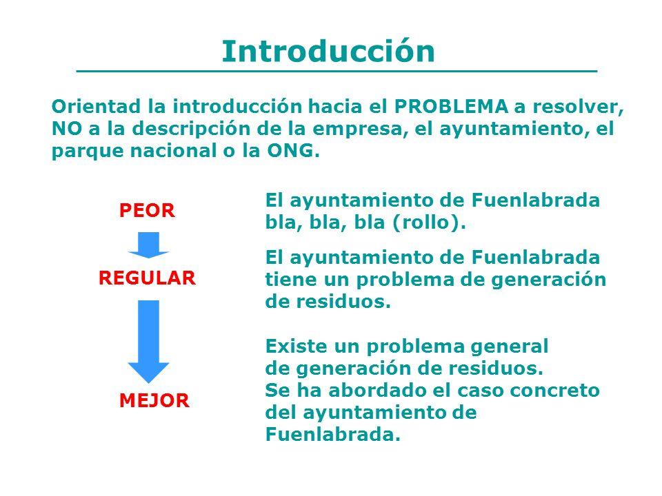Introducción Orientad la introducción hacia el PROBLEMA a resolver,