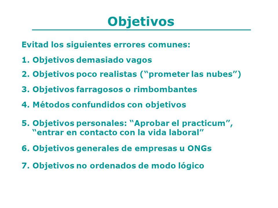 Objetivos Evitad los siguientes errores comunes: