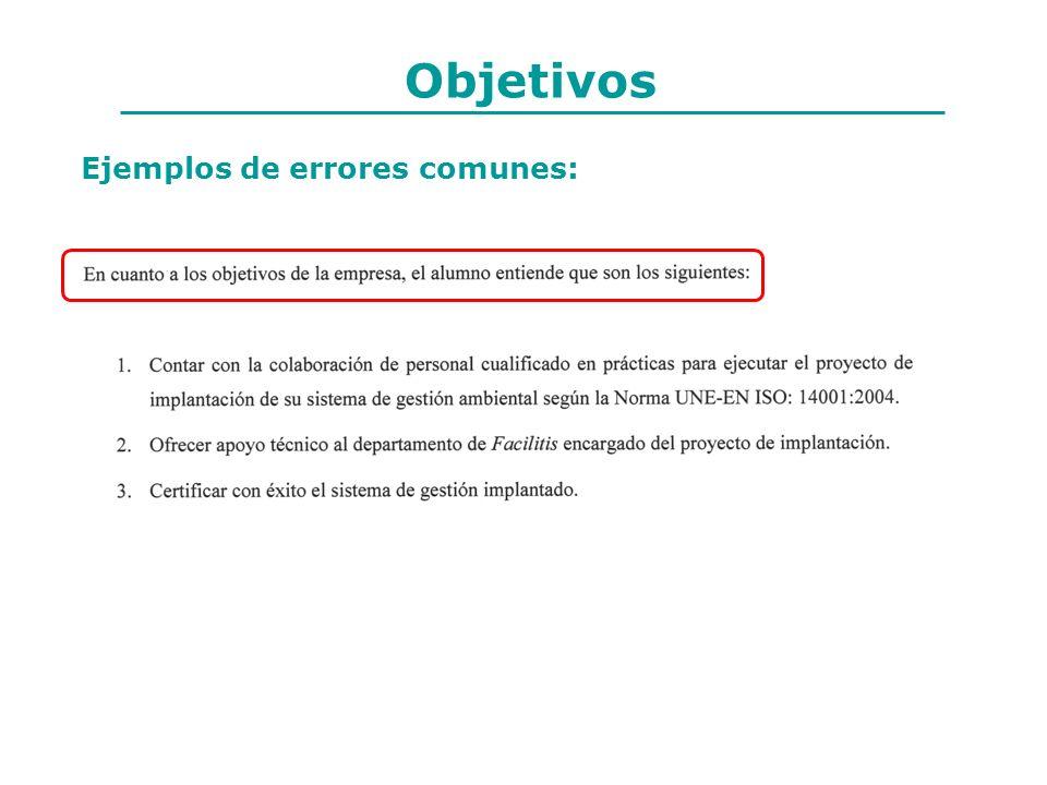 Objetivos Ejemplos de errores comunes: