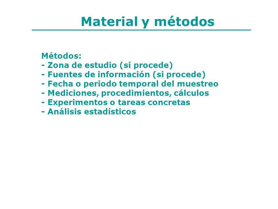 Material y métodos Métodos: - Zona de estudio (si procede)