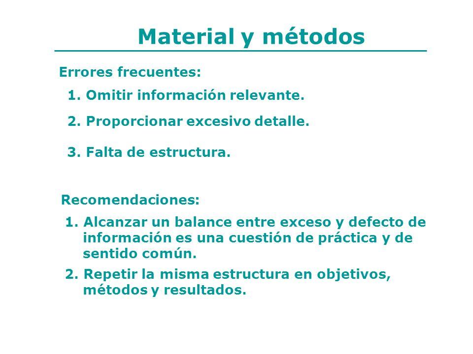 Material y métodos Errores frecuentes: