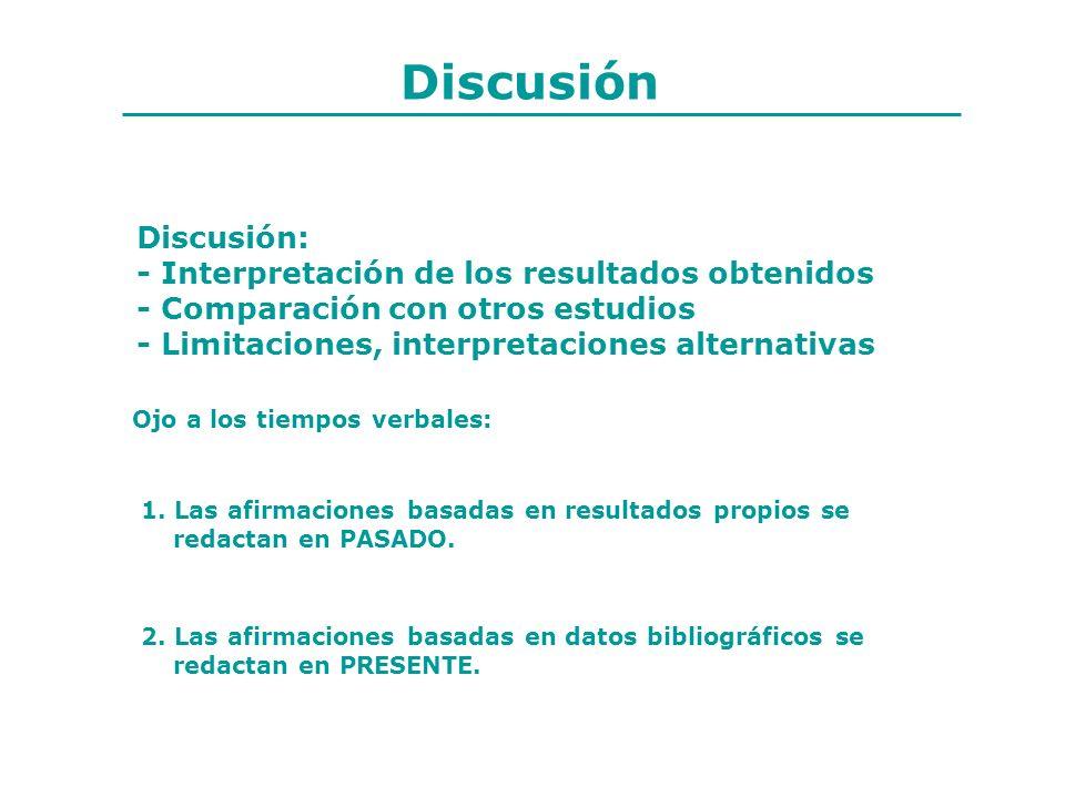 Discusión Discusión: - Interpretación de los resultados obtenidos