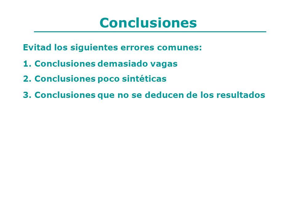 Conclusiones Evitad los siguientes errores comunes: