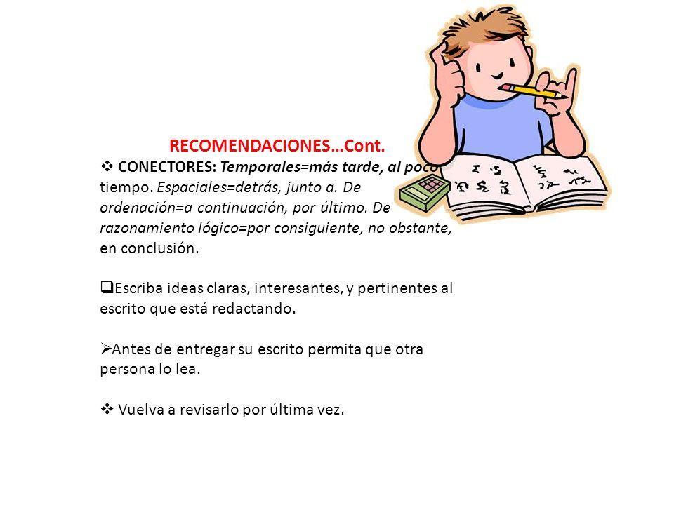 RECOMENDACIONES…Cont.
