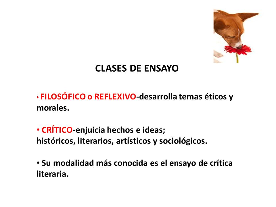 CLASES DE ENSAYO CRÍTICO-enjuicia hechos e ideas;