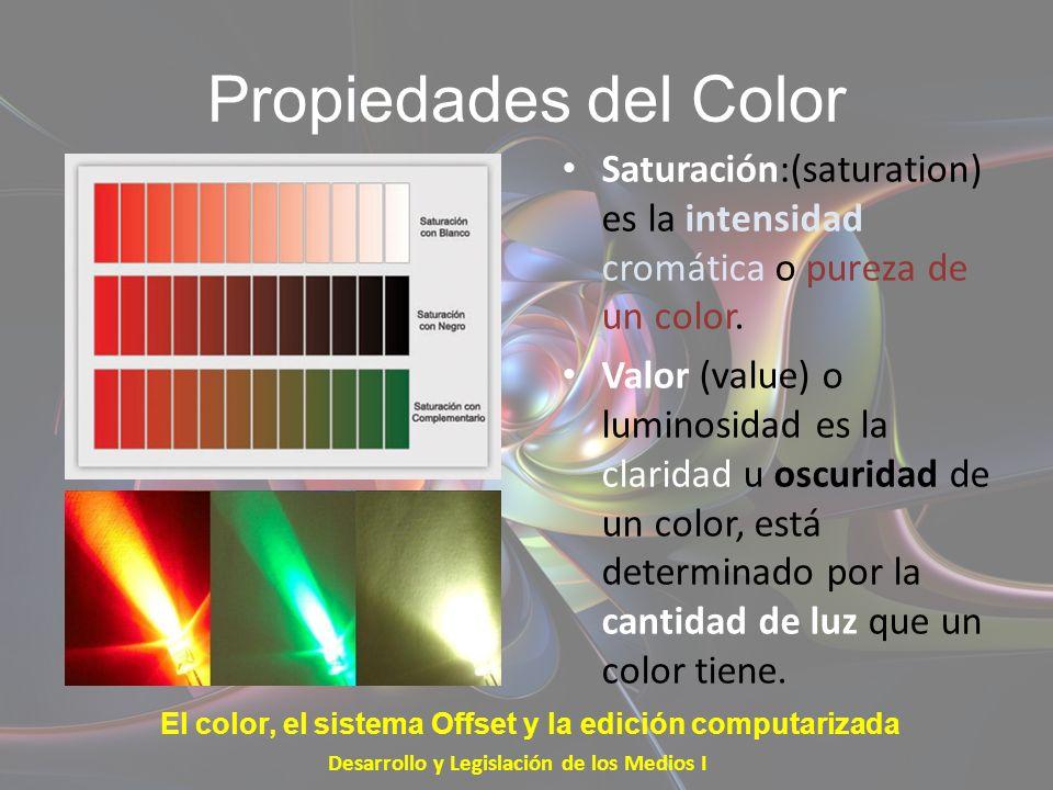 Propiedades del ColorSaturación:(saturation) es la intensidad cromática o pureza de un color.