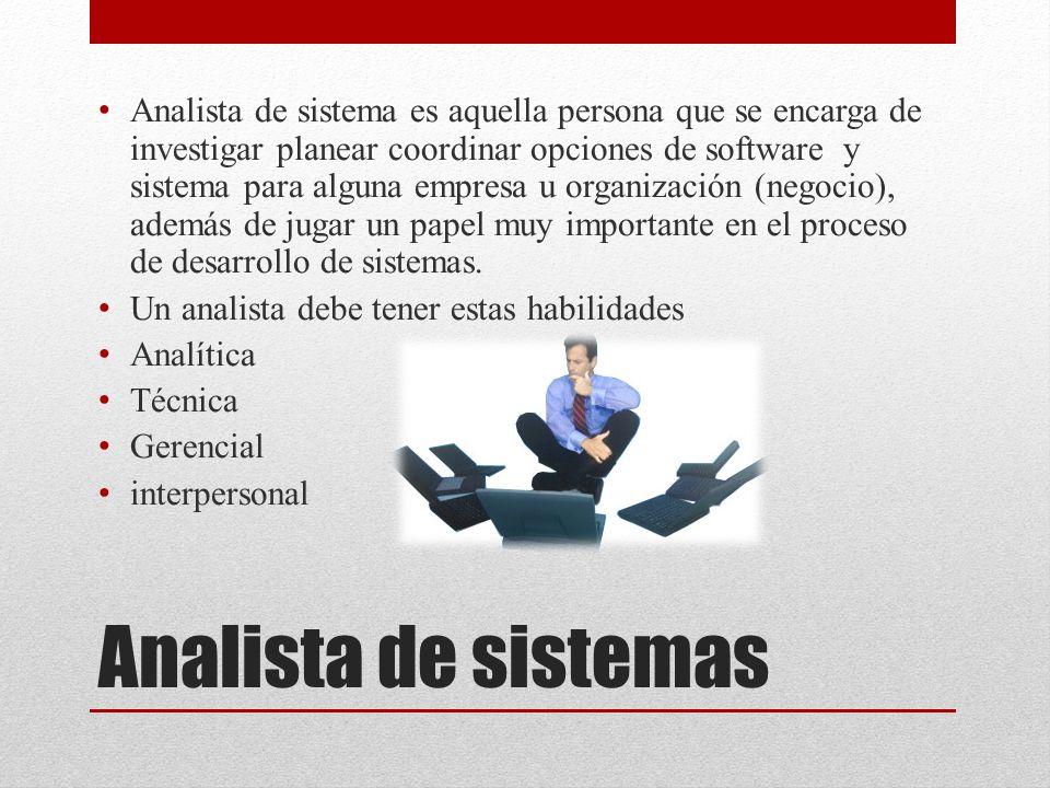 Analista de sistema es aquella persona que se encarga de investigar planear coordinar opciones de software y sistema para alguna empresa u organización (negocio), además de jugar un papel muy importante en el proceso de desarrollo de sistemas.