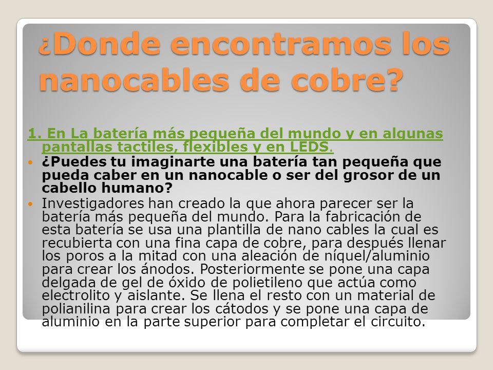 ¿Donde encontramos los nanocables de cobre
