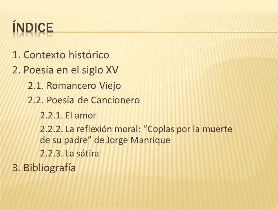 ÍNDICE 1. Contexto histórico 2. Poesía en el siglo XV