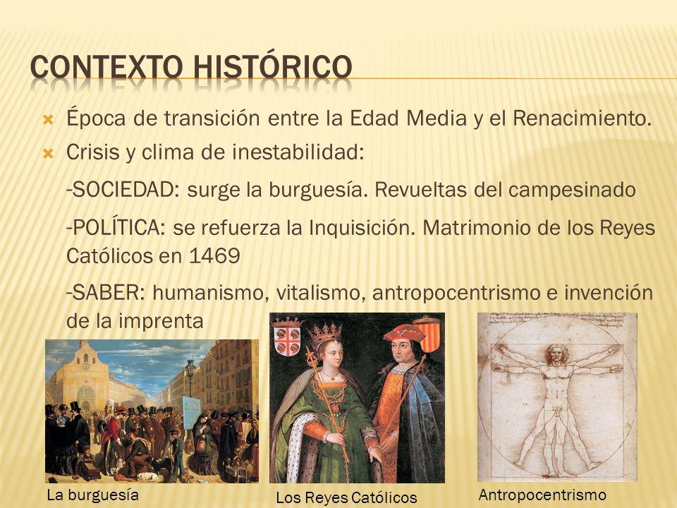 Contexto histórico Época de transición entre la Edad Media y el Renacimiento. Crisis y clima de inestabilidad: