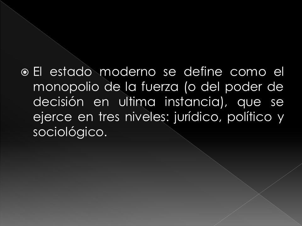 El estado moderno se define como el monopolio de la fuerza (o del poder de decisión en ultima instancia), que se ejerce en tres niveles: jurídico, político y sociológico.