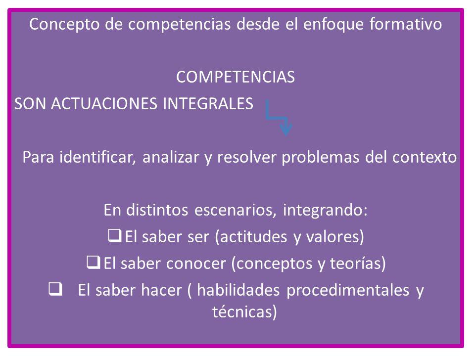 Concepto de competencias desde el enfoque formativo COMPETENCIAS