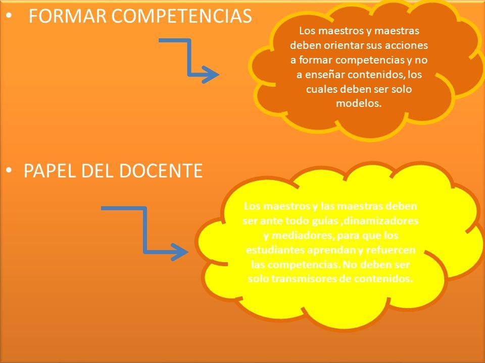 FORMAR COMPETENCIAS PAPEL DEL DOCENTE