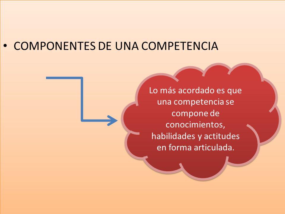 COMPONENTES DE UNA COMPETENCIA