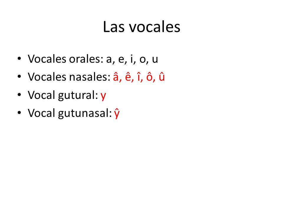 Las vocales Vocales orales: a, e, i, o, u