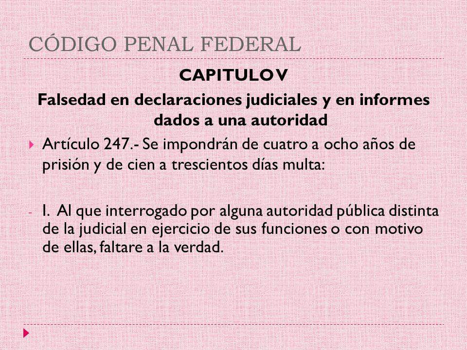 CÓDIGO PENAL FEDERAL CAPITULO V