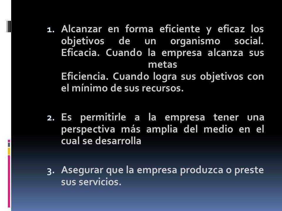 Alcanzar en forma eficiente y eficaz los objetivos de un organismo social. Eficacia. Cuando la empresa alcanza sus metas Eficiencia. Cuando logra sus objetivos con el mínimo de sus recursos.