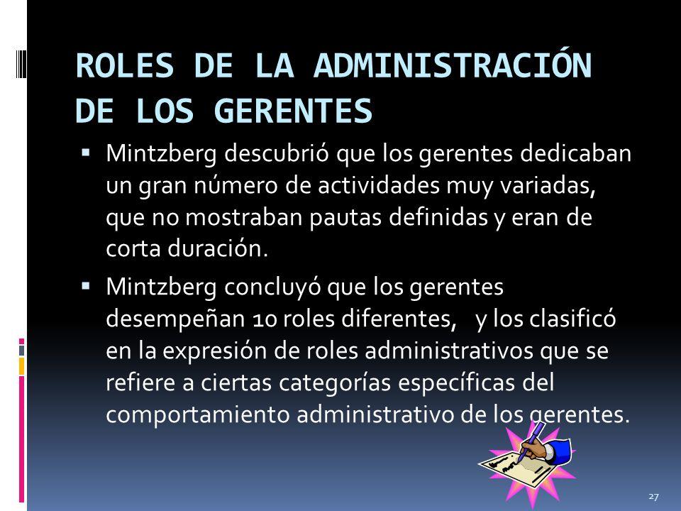 ROLES DE LA ADMINISTRACIÓN DE LOS GERENTES