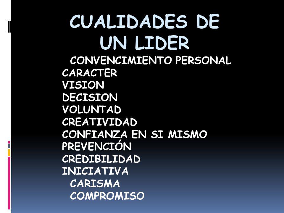 CUALIDADES DE UN LIDER CONVENCIMIENTO PERSONAL CARACTER VISION