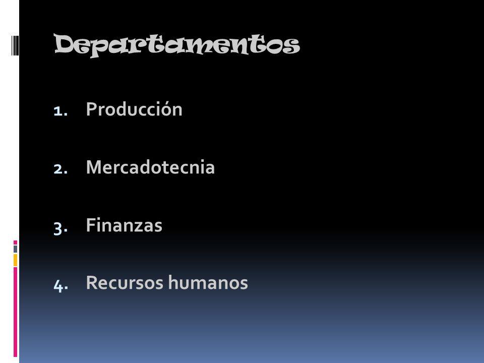 Departamentos Producción Mercadotecnia Finanzas Recursos humanos
