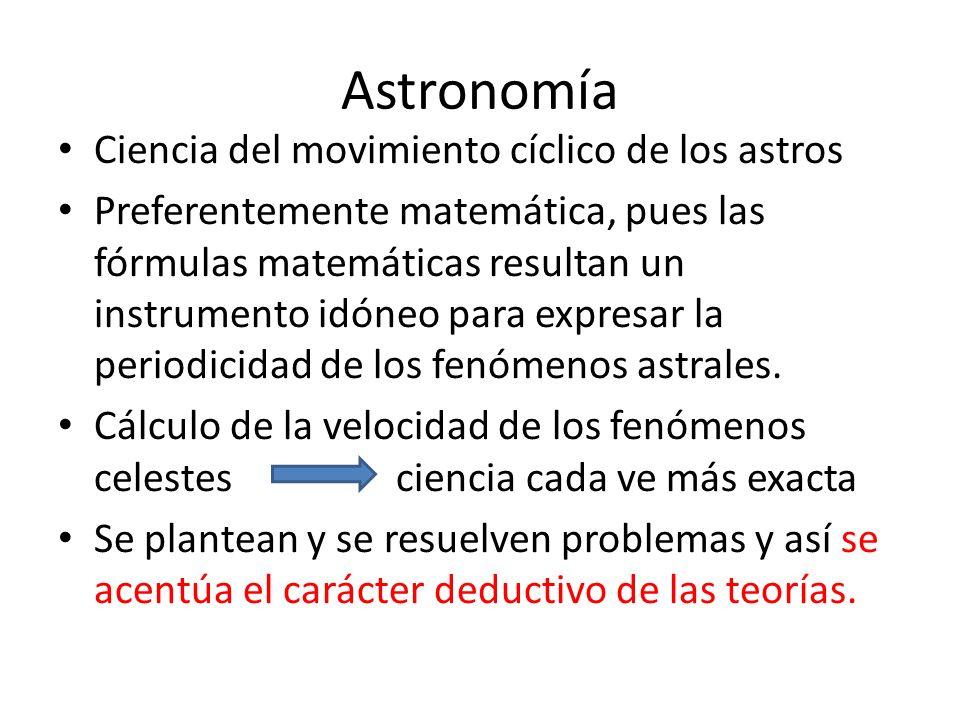 Astronomía Ciencia del movimiento cíclico de los astros