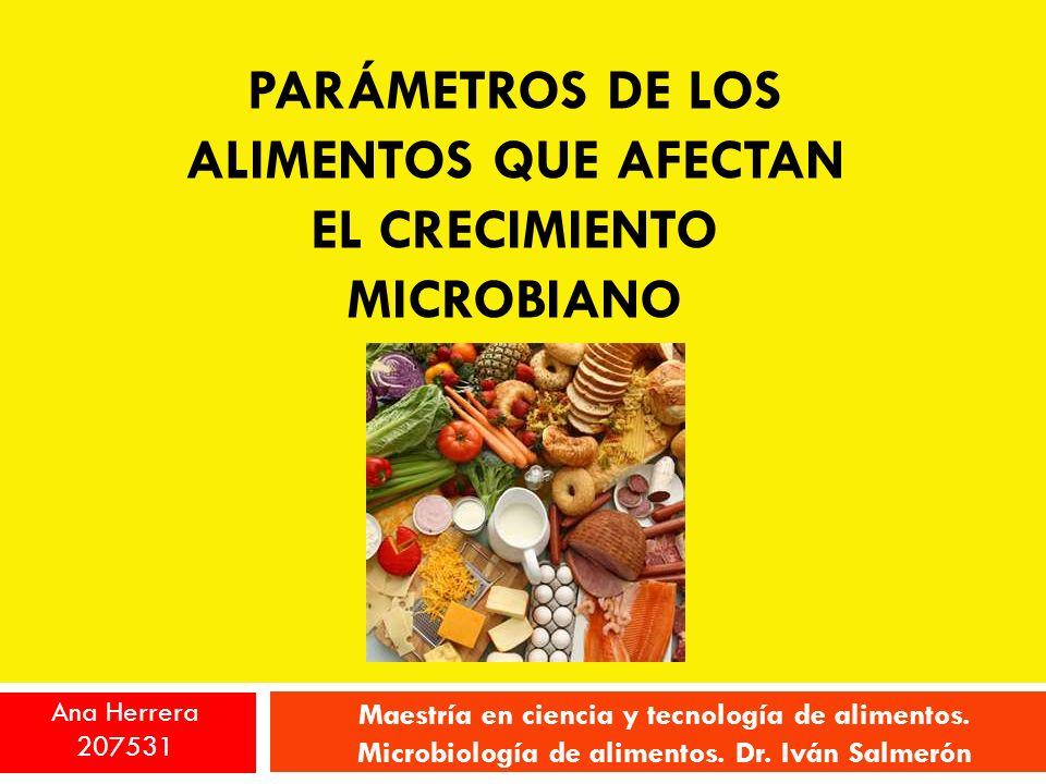 PARÁMETROS DE LOS ALIMENTOS QUE AFECTAN EL CRECIMIENTO MICROBIANO