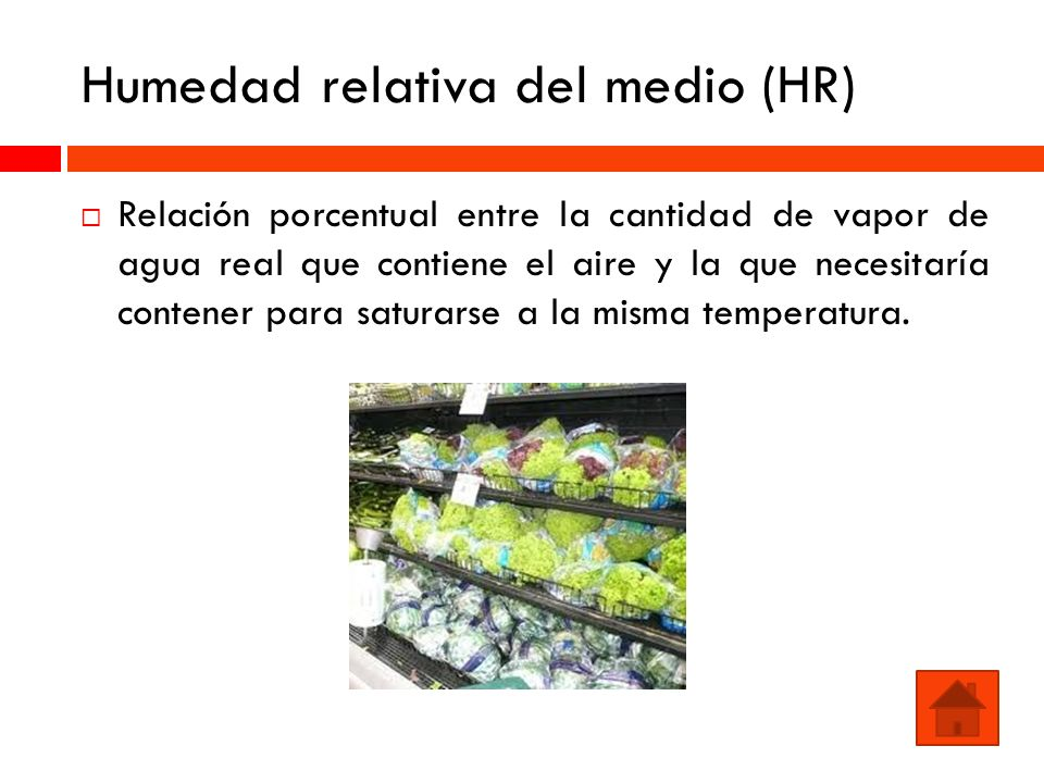 Humedad relativa del medio (HR)