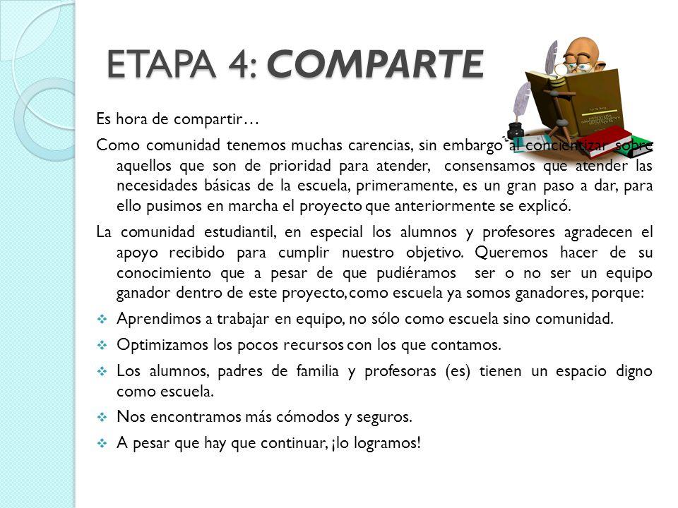 ETAPA 4: COMPARTE Es hora de compartir…