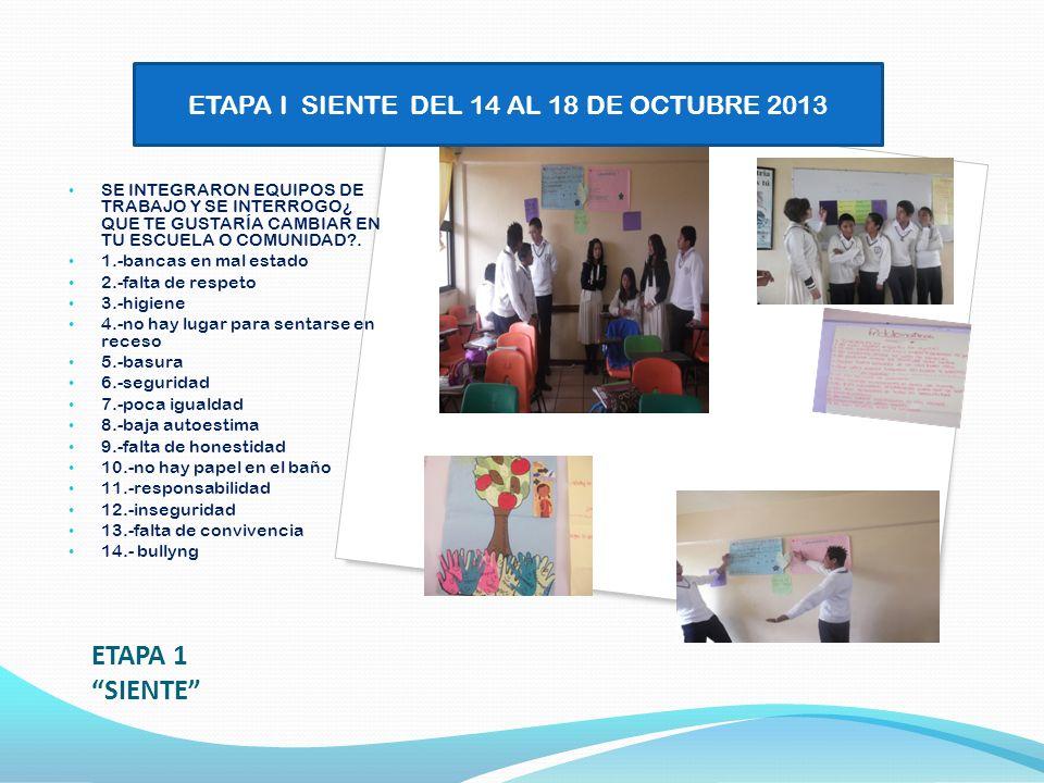 ETAPA I SIENTE DEL 14 AL 18 DE OCTUBRE 2013