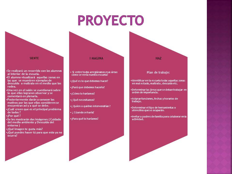 PROYECTO I MAGINA HAZ Plan de trabajo: SIENTE