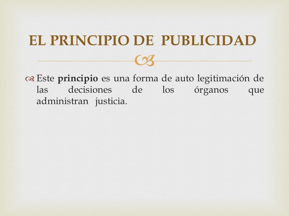 EL PRINCIPIO DE PUBLICIDAD