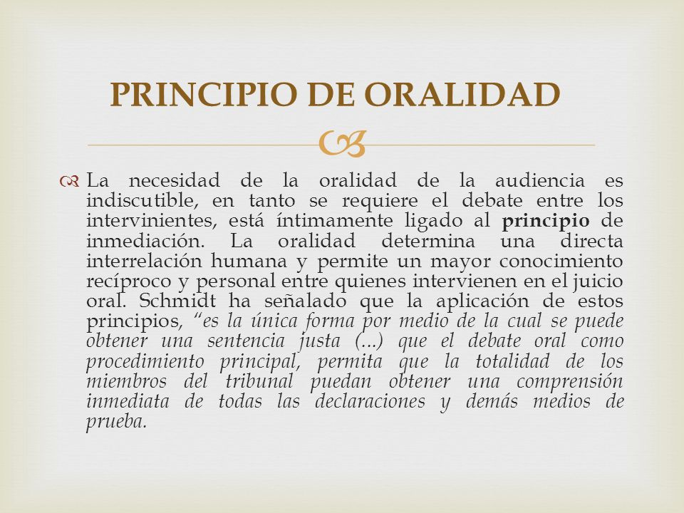 PRINCIPIO DE ORALIDAD