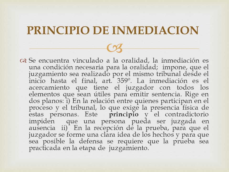 PRINCIPIO DE INMEDIACION
