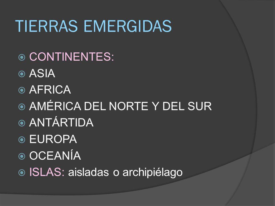 TIERRAS EMERGIDAS CONTINENTES: ASIA AFRICA AMÉRICA DEL NORTE Y DEL SUR