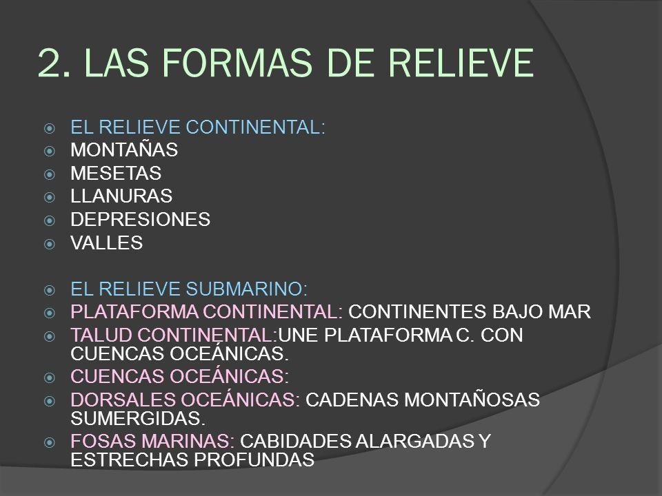 2. LAS FORMAS DE RELIEVE EL RELIEVE CONTINENTAL: MONTAÑAS MESETAS
