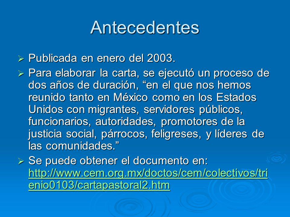 Antecedentes Publicada en enero del 2003.