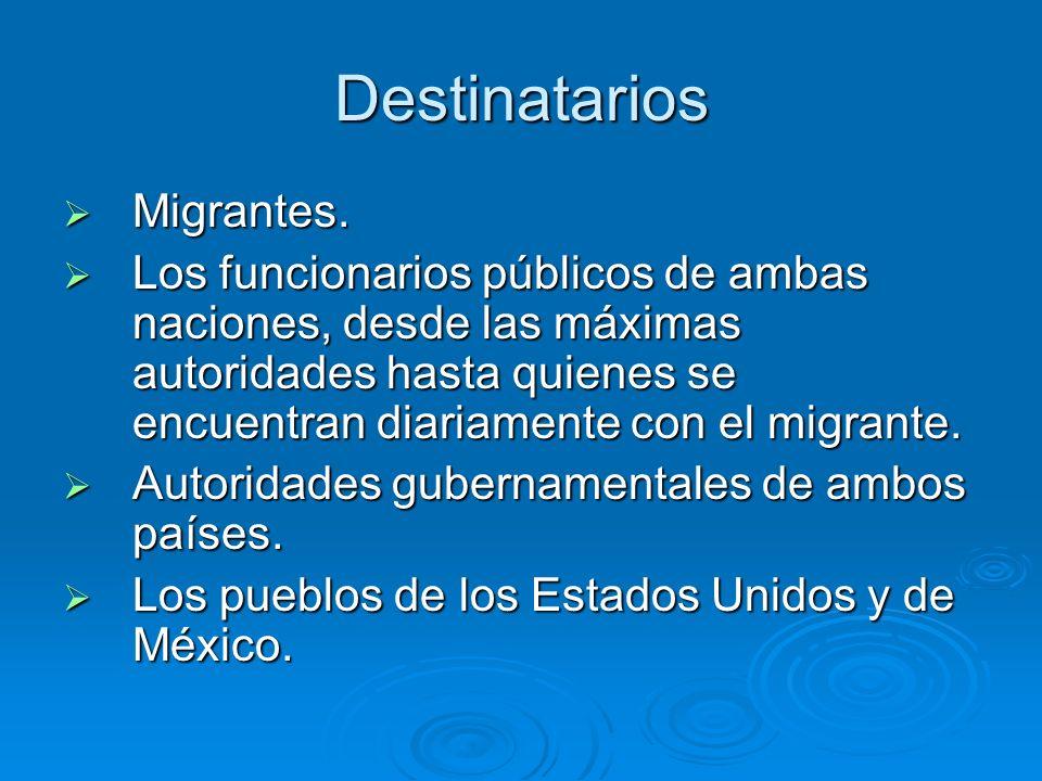 Destinatarios Migrantes.