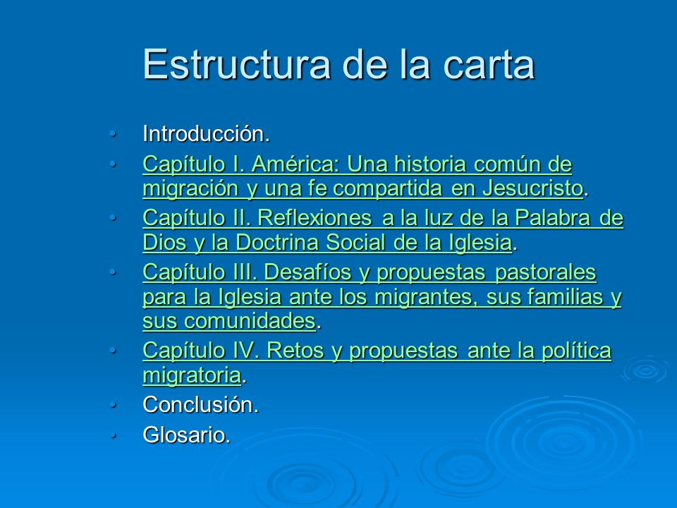Estructura de la carta Introducción.