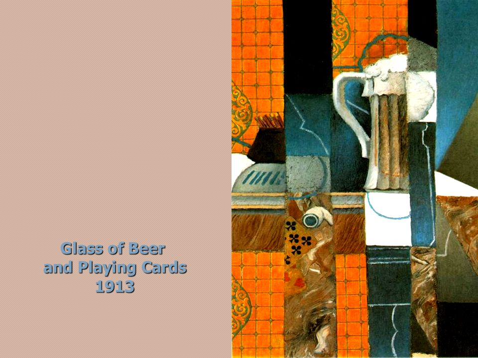 Glass of Beer and Playing Cards 1913