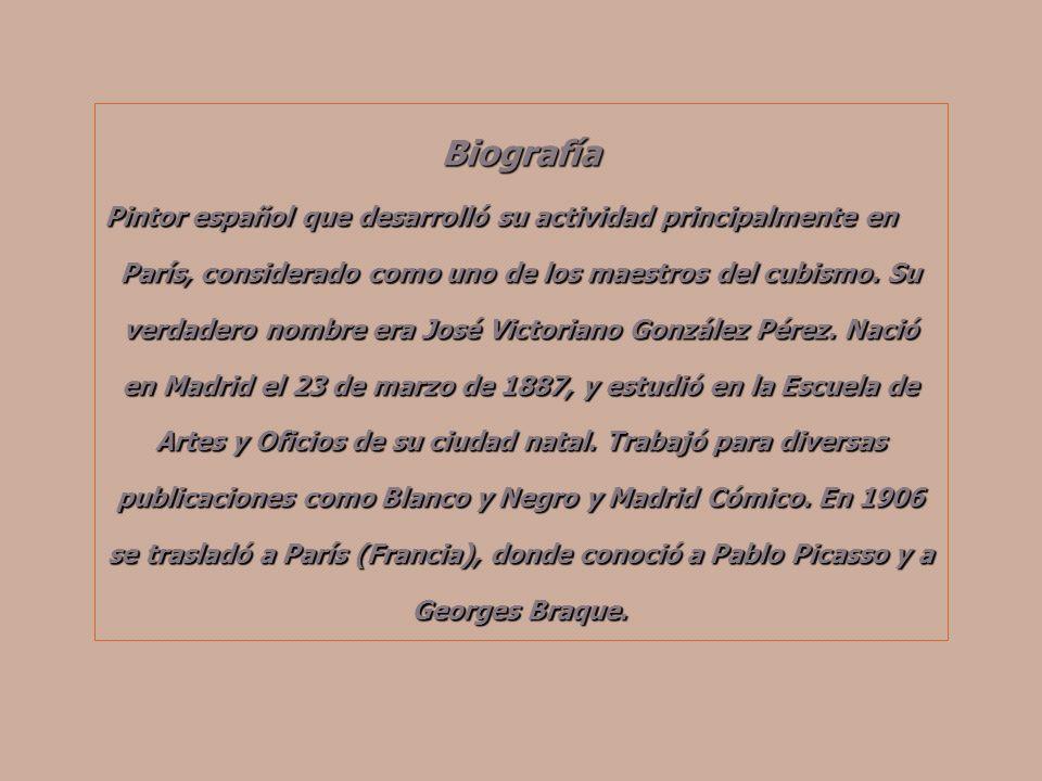 Biografía Pintor español que desarrolló su actividad principalmente en París, considerado como uno de los maestros del cubismo.