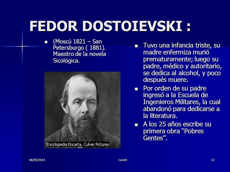 FEDOR DOSTOIEVSKI : (Moscú 1821 – San Petersburgo ( 1881). Maestro de la novela Sicológica.
