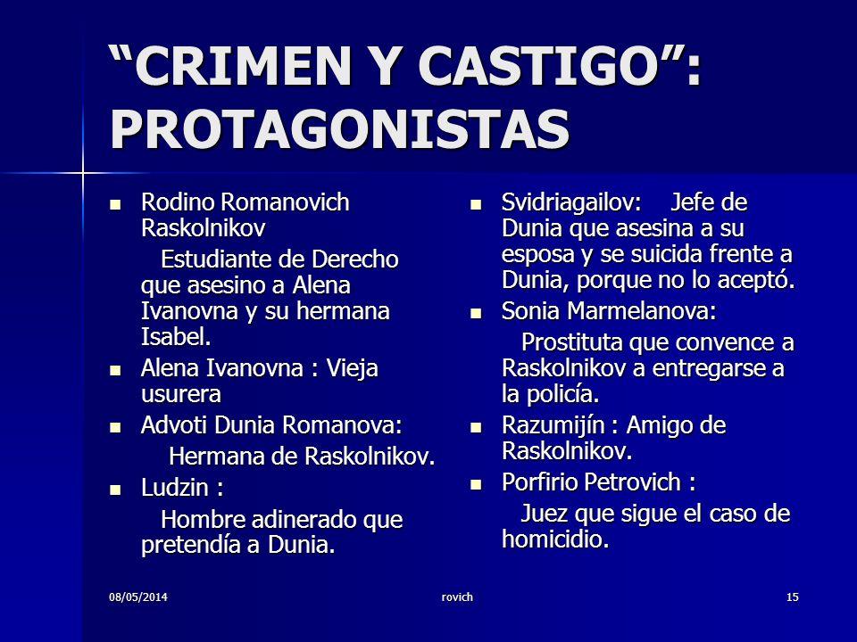 CRIMEN Y CASTIGO : PROTAGONISTAS