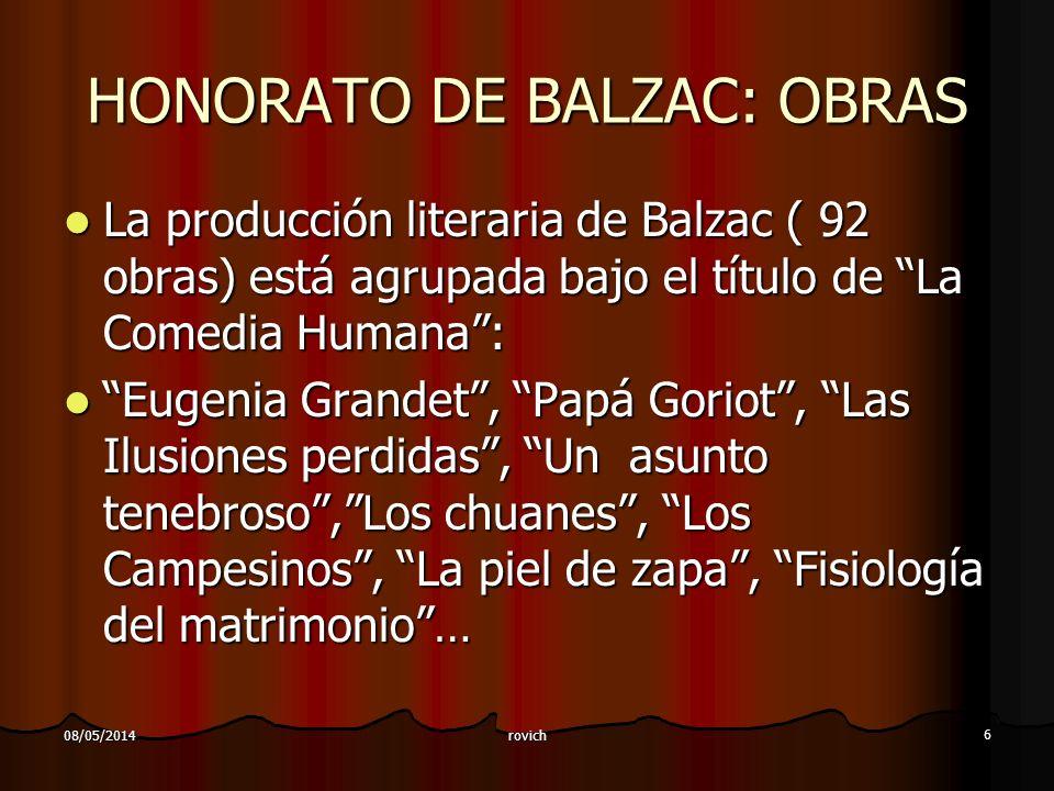 HONORATO DE BALZAC: OBRAS